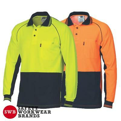 DNC Workwear Mens Hi Vis Cotton Back Cool Contrast Piping Polo Shirt L/S 3720