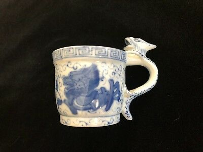 Vintage Chinese Handpainted Blue & White Dragon Handle Porcelain Small Mug