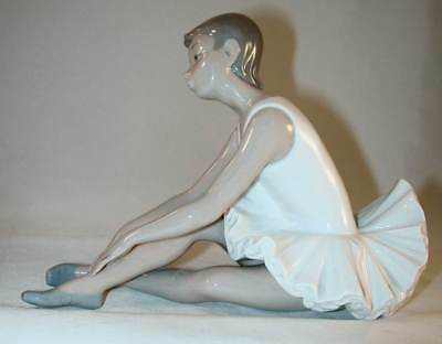 NAO Porcelain Figurine Ballerina Sitting Down Stretching Made in Spain By Lladro