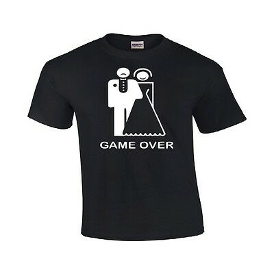 Game Over Funny T Shirt Cute Wedding Gift Bride and Groom Marriage Tee Shirt