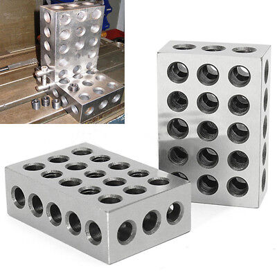 "1 Pair 123 Blocks 1-2-3 Ultra Precision .0002 Hardened 23 Holes 0.0002"" Silver"