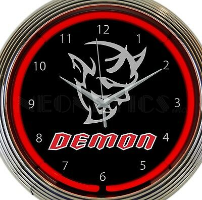 Dodge Demon Muscle Car Red Neon Clock 15 Inch Office Game Room Bar Garage Home