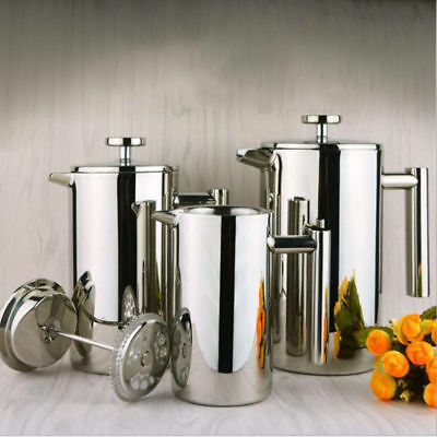 Stainless Steel French Press Coffee Maker Double Wall Filter Baskets Cafetiere