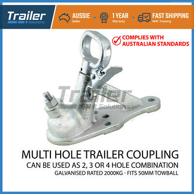 Trailer Hitch 3 Hole Quick Release Coupling 2 Hole Galvanised 50Mm 2000Kg Rated