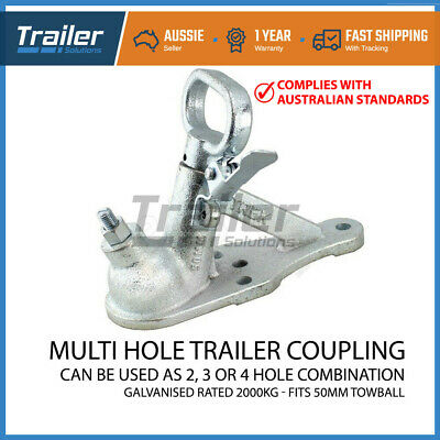 Trailer Hitch Quick Release Coupling 2 Hole Galvanised 50Mm 2000Kg Rated