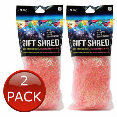 2 x SKD PARTY GIFT SHRED PINK IRIDESCENT SOFT PAPER FILLER HAMPER BOX DECORATE