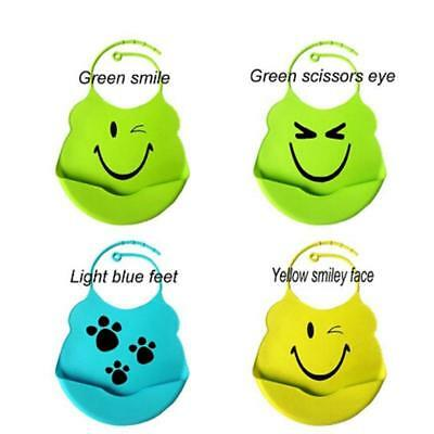 Safe Silicone Baby Feeding Bibs Food Catcher Unisex Waterproof Bib J