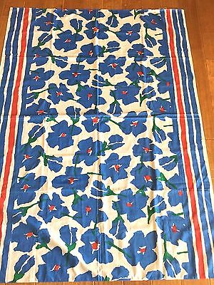 "Mod 60'S Designer Mary Quant Blue Mod Floral Cotton Tablecloth 44"" X 62"" Fabric"