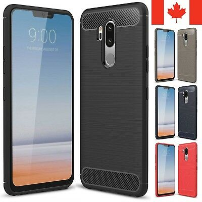 For LG G7 Case (ThinQ / One) - Carbon Fiber Armor TPU Shockproof Hybrid Cover