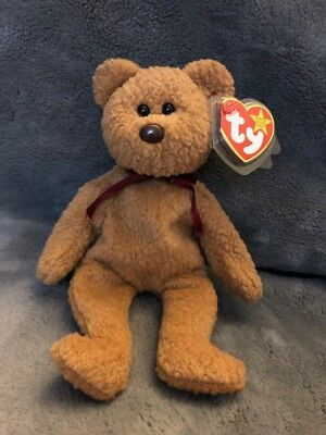 Retired CURLY BEAR Ty Beanie Baby with Several Rare Tag Errors