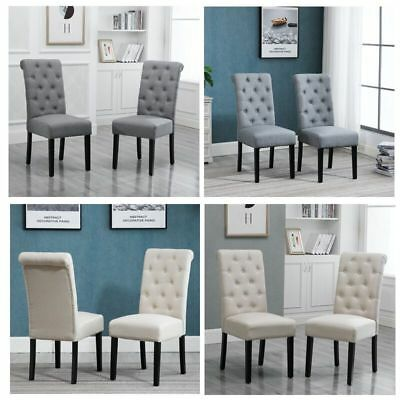 2/4Pcs Button Tufted Fabric High Back Dining Chair Padded Wood Legs Dining Room