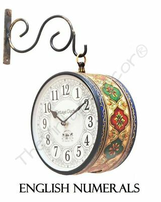 "Vintage Clock Antique Iron Double Sided Hand Painted Station Wall Clock 6"" Xmas"