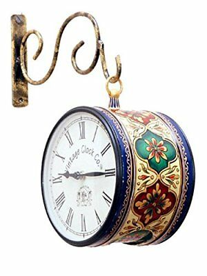 """Vintage Clock Antique Iron Double Sided Hand Painted Station Wall Clock 6"""""""