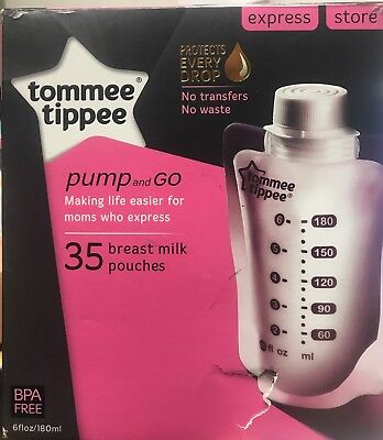 Breast Milk Storage Pouches Tommee Tippee Pump and Go 6 oz Each 35 Count New