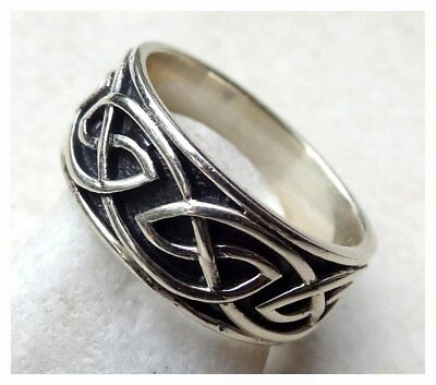 GENUINE 925 Sterling Silver CELTIC RING BAND SIZE N 1/2  - US 7