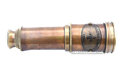 Nautica Shiny Brass Folding Telescope Marine Solid Brass Handle With Cap Decor