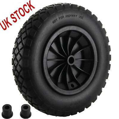 "PU 14"" BLACK Puncture Proof Solid 3.50-8 wheelbarrow wheel complete UK"