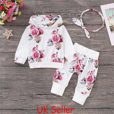 775f03087b UK Baby Girl Infant Clothes Floral Hooded Tops Pants Kids Outfits Sets  Tracksuit