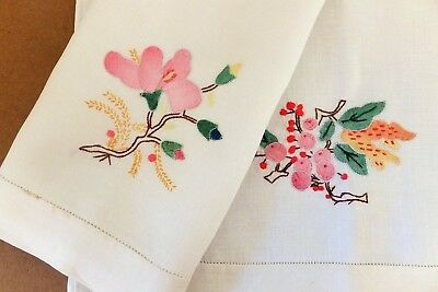 Vintage Quality White Linen Hand/ Tea Towels Handmade Shadow Applique