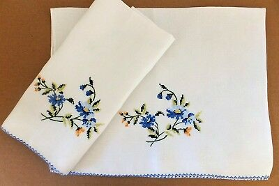 Vintage Quality White Linen Hand/Tea Towels Handmade Blue Cross Stitch Flowers