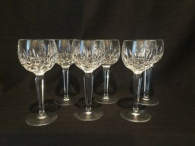 """Waterford Cut Crystal Kildare Wine Hock Set Of 6  7.5"""" Tall  Perfect Shape Rare"""