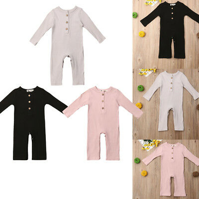 Infant Newborn Baby Boy Girl Long Jumpsuit Romper Bodysuit Cotton Clothes Outfit