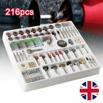 216 Piece Mini Rotary Power Drill Tool Accessory Kit Fits Dremel Multi Tools Uk