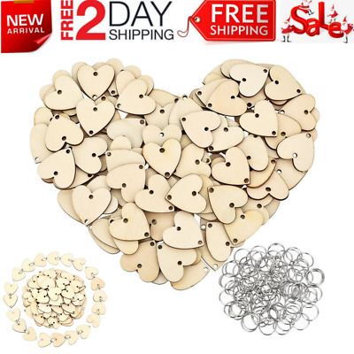 100 Pieces Heart Shaped Wooden Discs Wood Tags with 2 Holes & and 100 Pcs Rings