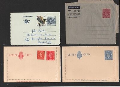 2 UK.Lettercards UK. GV1, QE11, 1 Air Mail GV1, 1 Belgium 13 franc.
