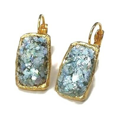 Roman Glass Gold P. Ancient 200 B.C Rectangle Earrings Holyland Archaeological