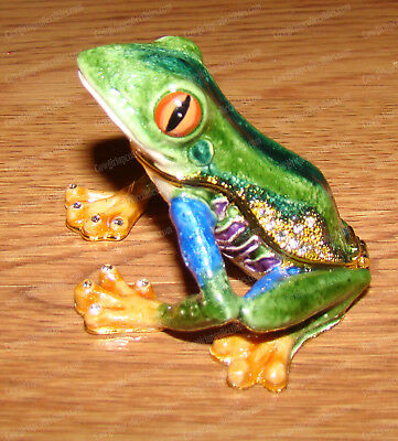 Tropical Tree Frog (Wildlife Collection, 3781) Bejeweled Enamel Trinket Box