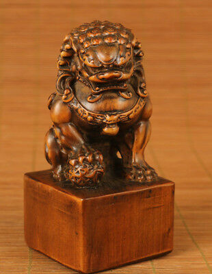 big chinese old antique boxwood hand carved lion exorcism statue netsuke