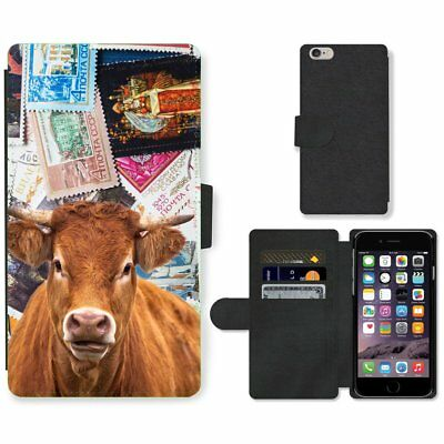 Phone Card Slot PU Leather Wallet Case For Apple iPhone farm cow stamp collect