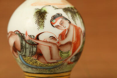 chinese old  porcelain hand painting hug sexual culture statue snuff bottle
