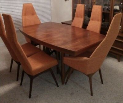 Mid Century Modern Adrian Pearsall Dining Room 6 Tallback Chairs Brazilian Table