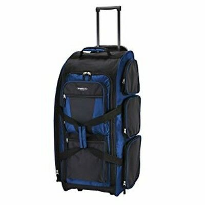 """Travelers Club Luggage 30"""" Xpedition Blue Multi-Pocket Rolling Duffel NEW"""