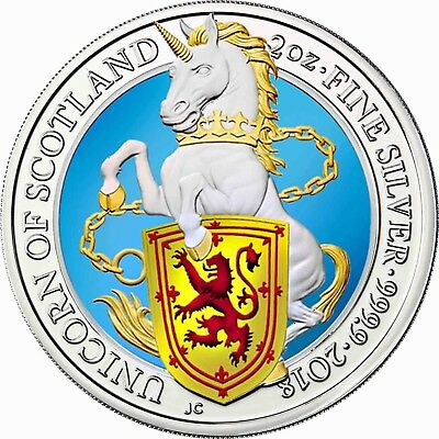 Queen's Beasts 5 Pounds 2018 The Unicorn of Scotland 2 oz Silver Coin Coloured