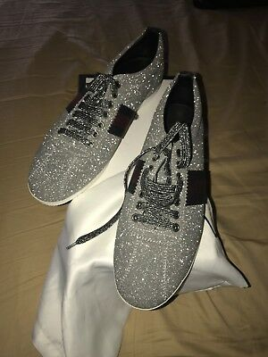 dbbfbcb42a1 GUCCI MEN S GLITTER Web Sneaker With Studs In Silver 414684 9.5 ...
