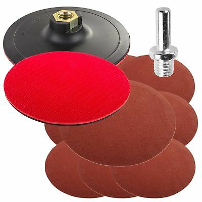 125mm Hook & Loop Angle Grinder C.Drill Pad Grinding Pad + Attachment + 50 Discs