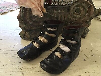 Pair Of Antique Victorian Girls Button Up Shoes Black Leather #J