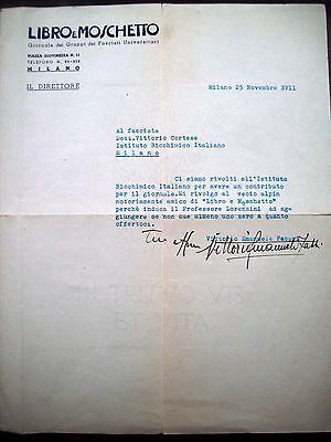 1939 Letter Of Vittorio Emanuele Fabbri Giornale 'Book And Musket' Fascism