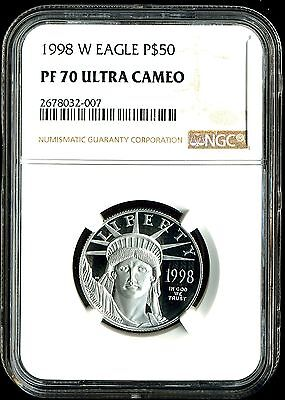 1998-W P$50 Proof Platinum American Eagle PF70 Ultra Cameo NGC 2678032-007