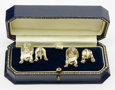 Super Boxed Pair Detailed Novelty Solid Silver Dog Cufflinks Hm 1991 Great Gift!