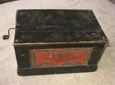 Antique Working Wood Wooden Hand Crank Organ Grinder Music Box~VERY OLD!