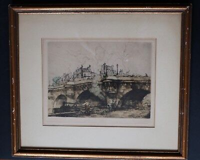 Armand Coussens French Large Plate-Signed Color Etching Seine River Bridge