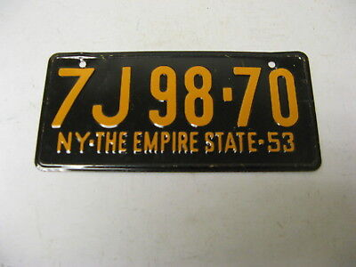 1953 53 New York NY Wheaties Miniature Cereal Bicycle License Plate 7J98-70