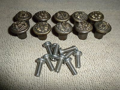 10 Antique Brass Original Ornate Piano Knobs Desk Furniture Cabinet Door Trim