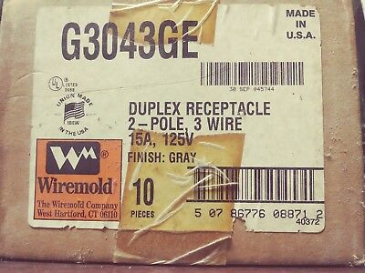 Wiremold G3043Ge Duplex Grounding Receptacle And Cover Gray Box Of 10 New In Box