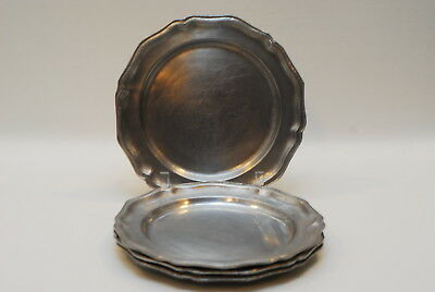 4 RWP Wilton Columbia Pewter Armetale Tavern Queen Anne Dinner Plate 10 3/8 Inch