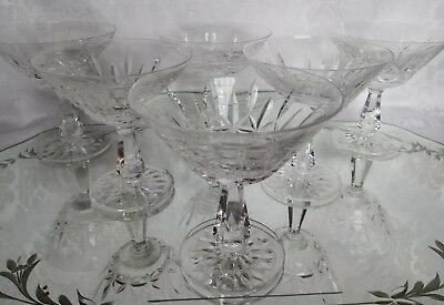 Waterford ROSSLARE CUT CRYSTAL Champagne Sherbet Set of Six Excellent Signed